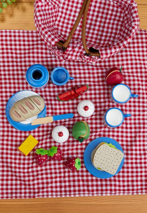Picnic Basket with Wooden Food