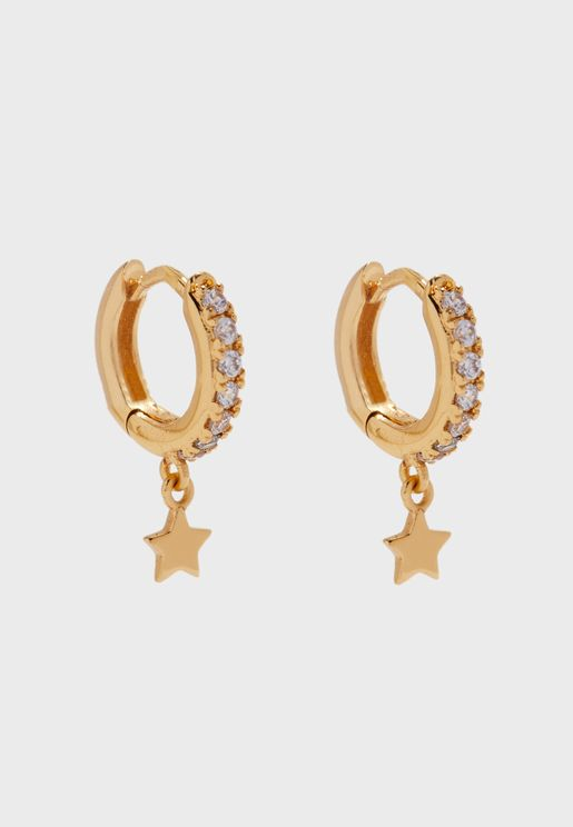 Star Drop Pave Hoop Earrings