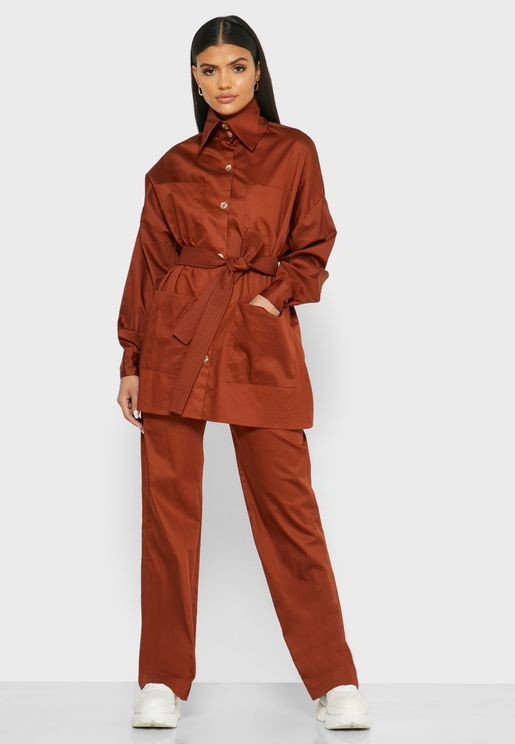 Belted Button Down Top and Wide-Leg Pants Set