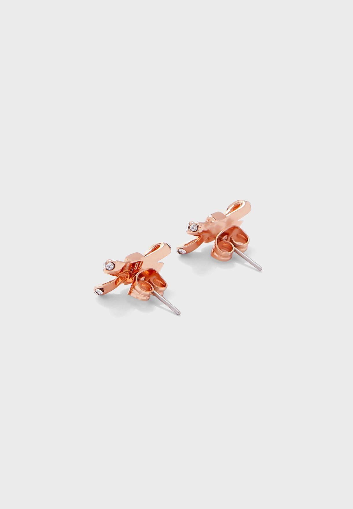 Sabla Crystal Sparkle Bow Stud Earrings