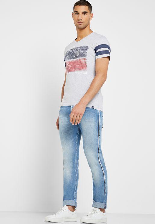 Side Stripe Mid Wash Slim Fit Jeans