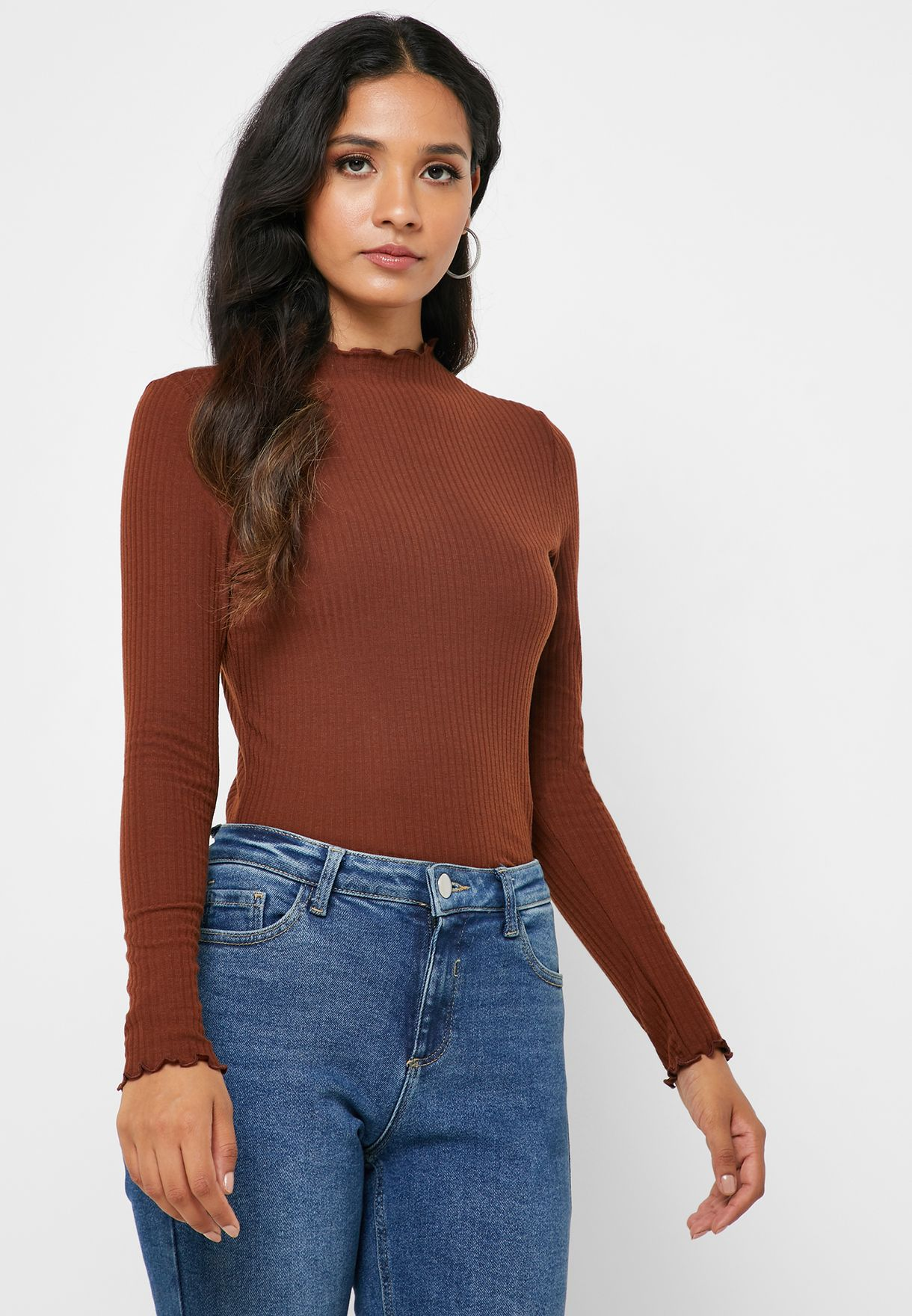 Lettuce Edge High Neck Top