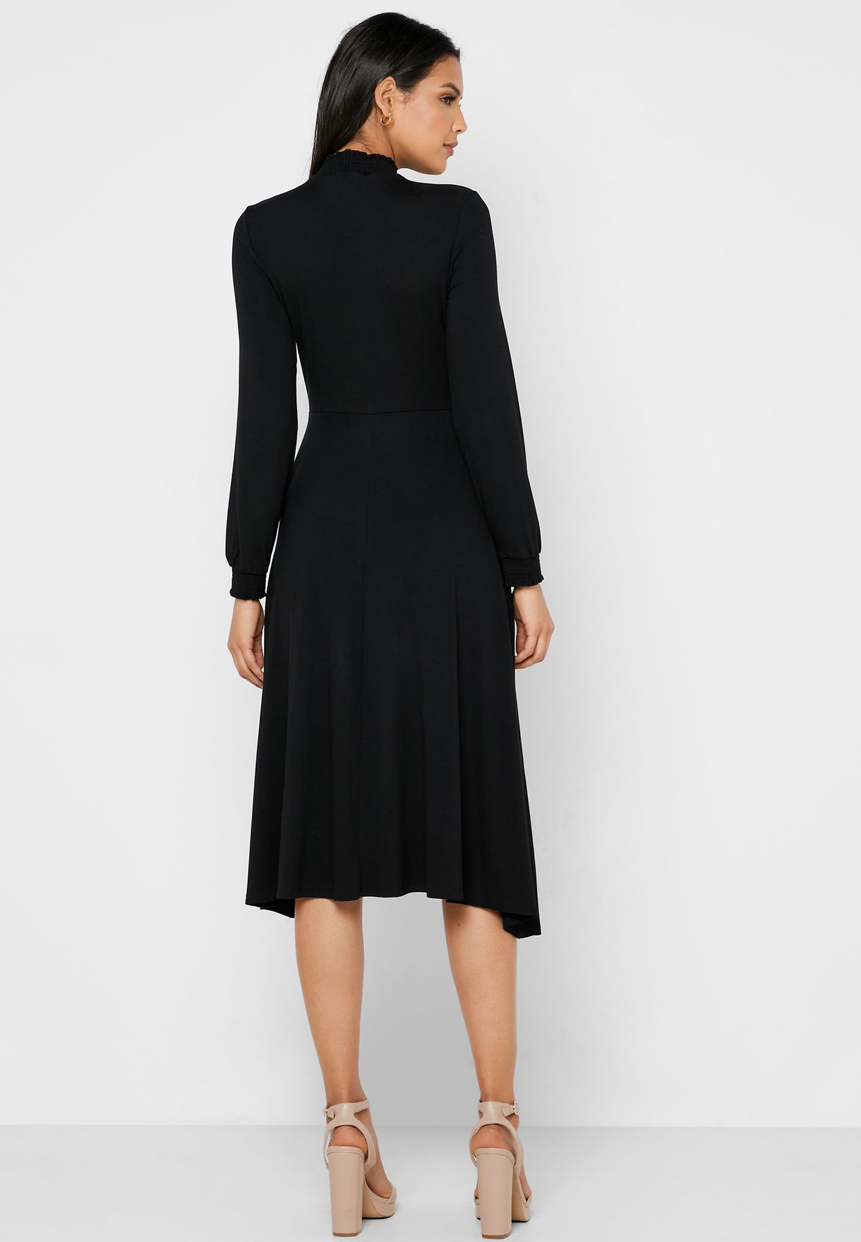 High Neck Cuff Sleeve Dress