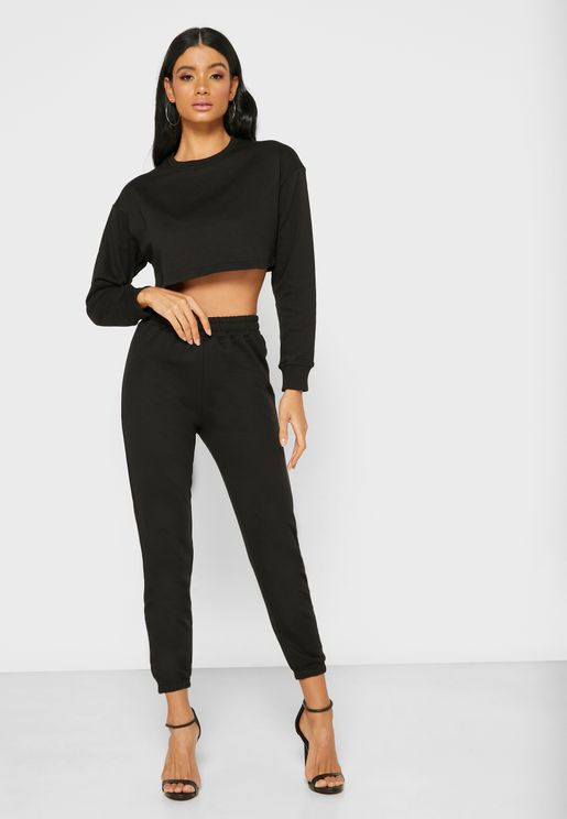 Cropped Sweatshirt & Jogger Set