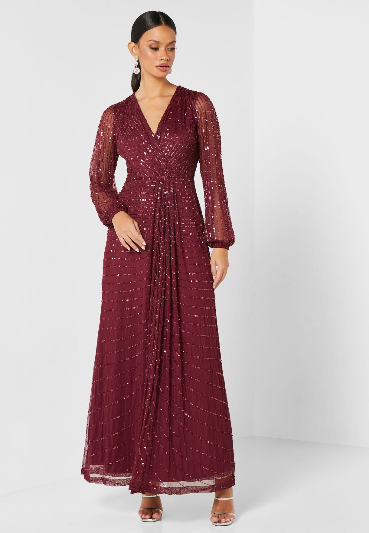 فستان ماكسي بأكمام شبكية مرصع بالترتر