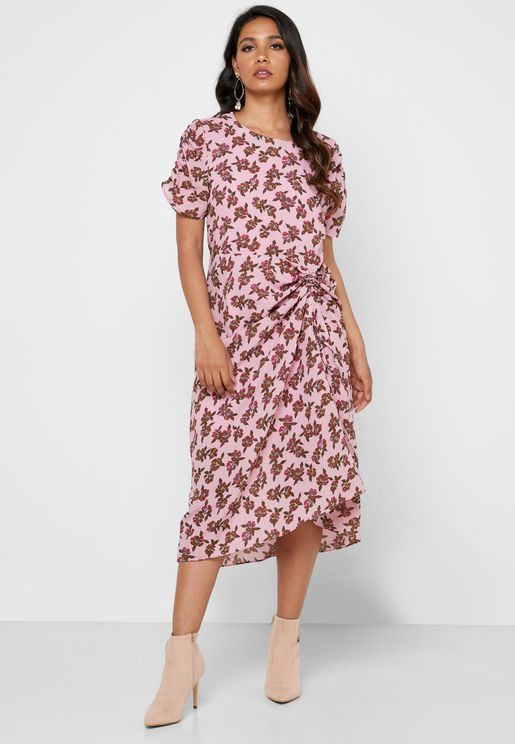 Floral Print Ruched Detail Dress
