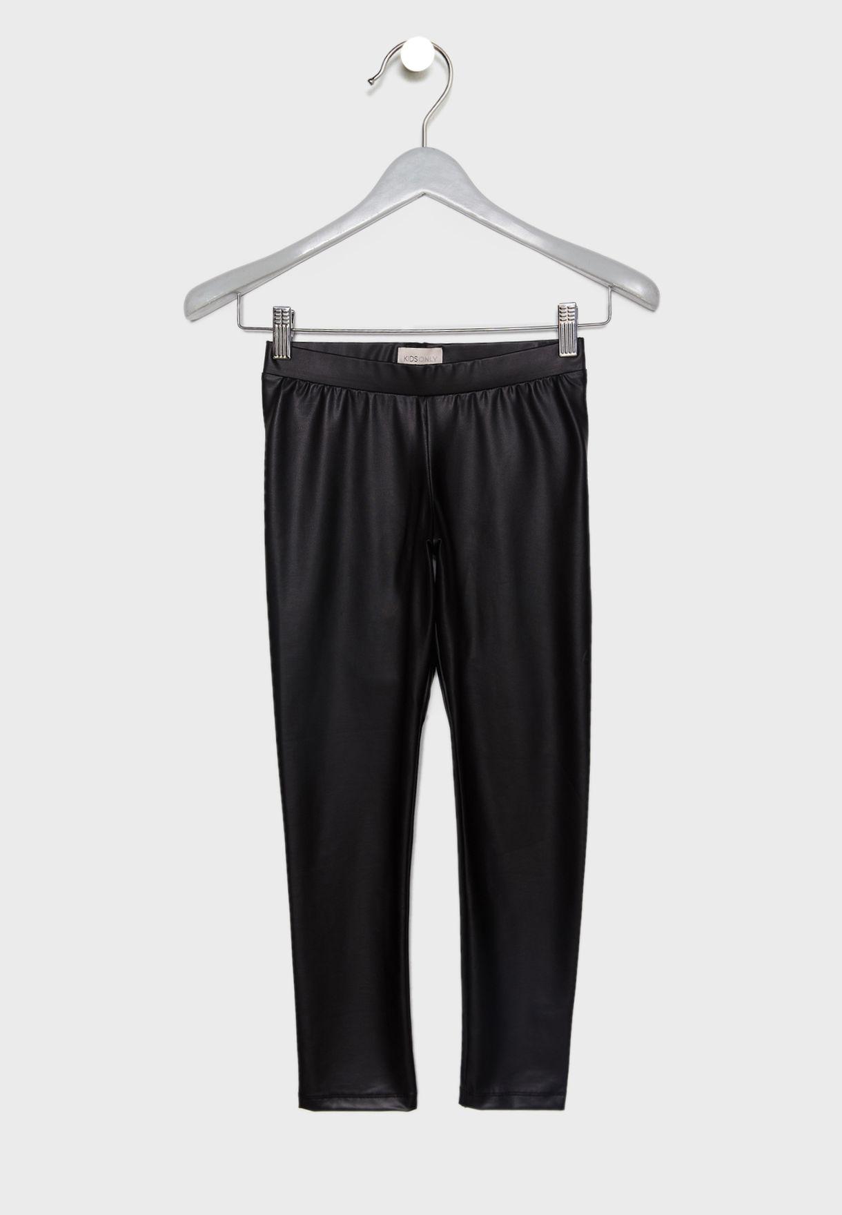 063e6cd872d78f Shop Only black Kids Faux Leather Leggings 15175018 for Kids in UAE ...