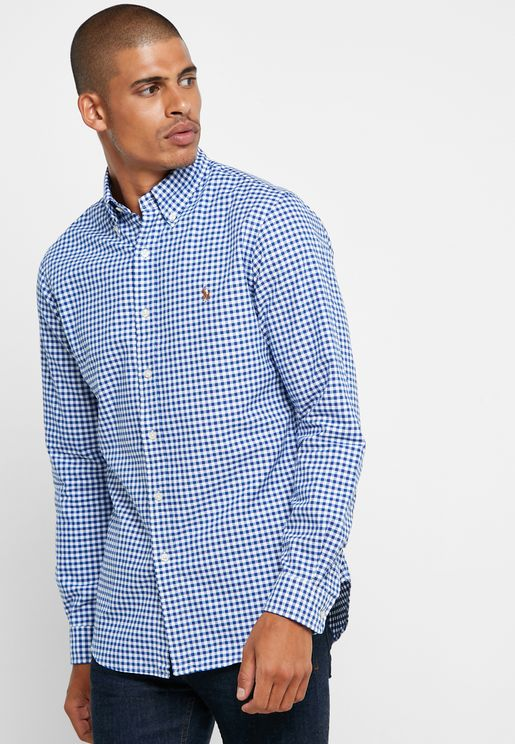 Button Down Gingham Oxford Slim Fit Shirt