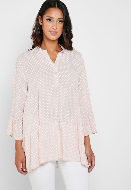 Dotted Lace Tunic Top