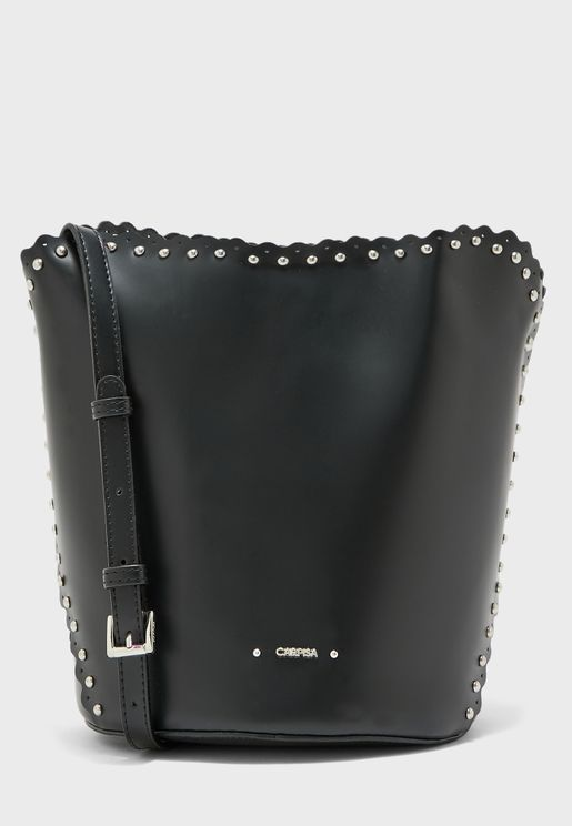 Studded Bucket Crossbody