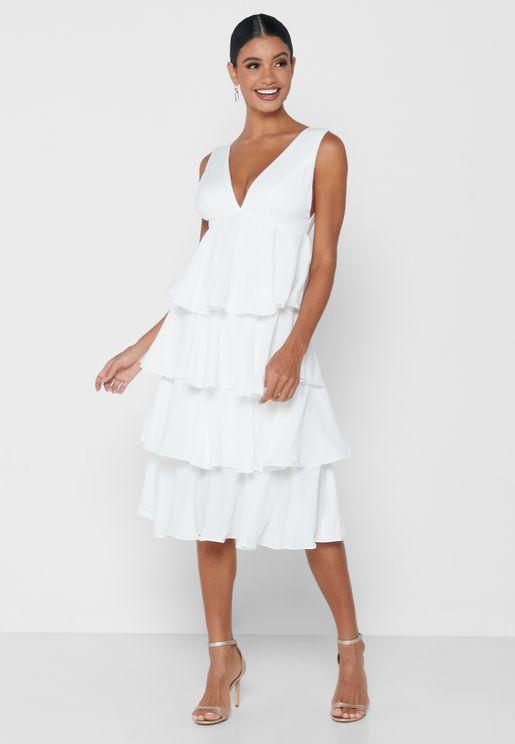 فستان ميدي مزين بكشكش