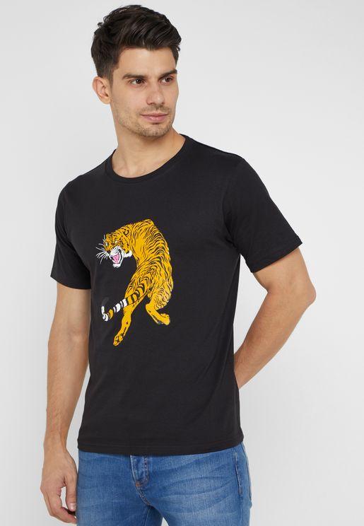 Tiger Print  Crew Neck T-Shirt