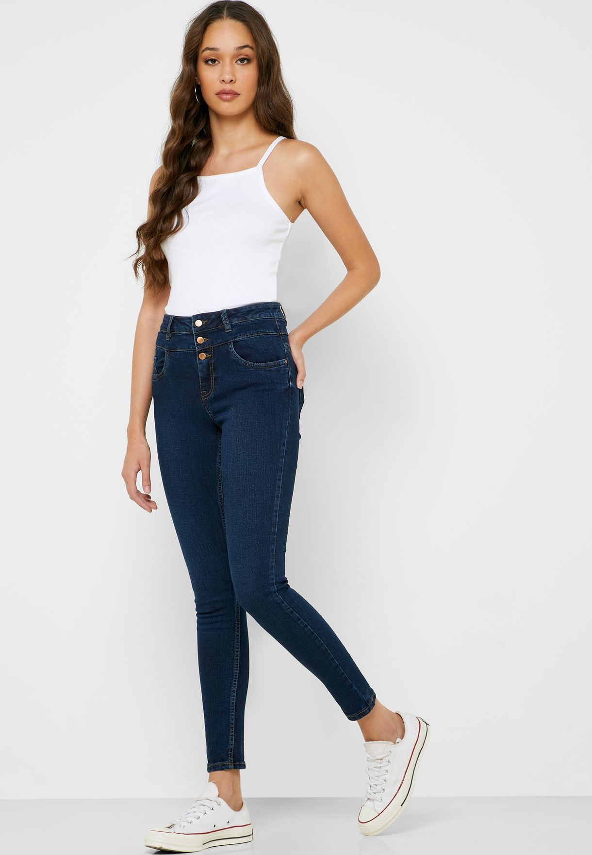 Button Detail High Waist Skinny Jeans