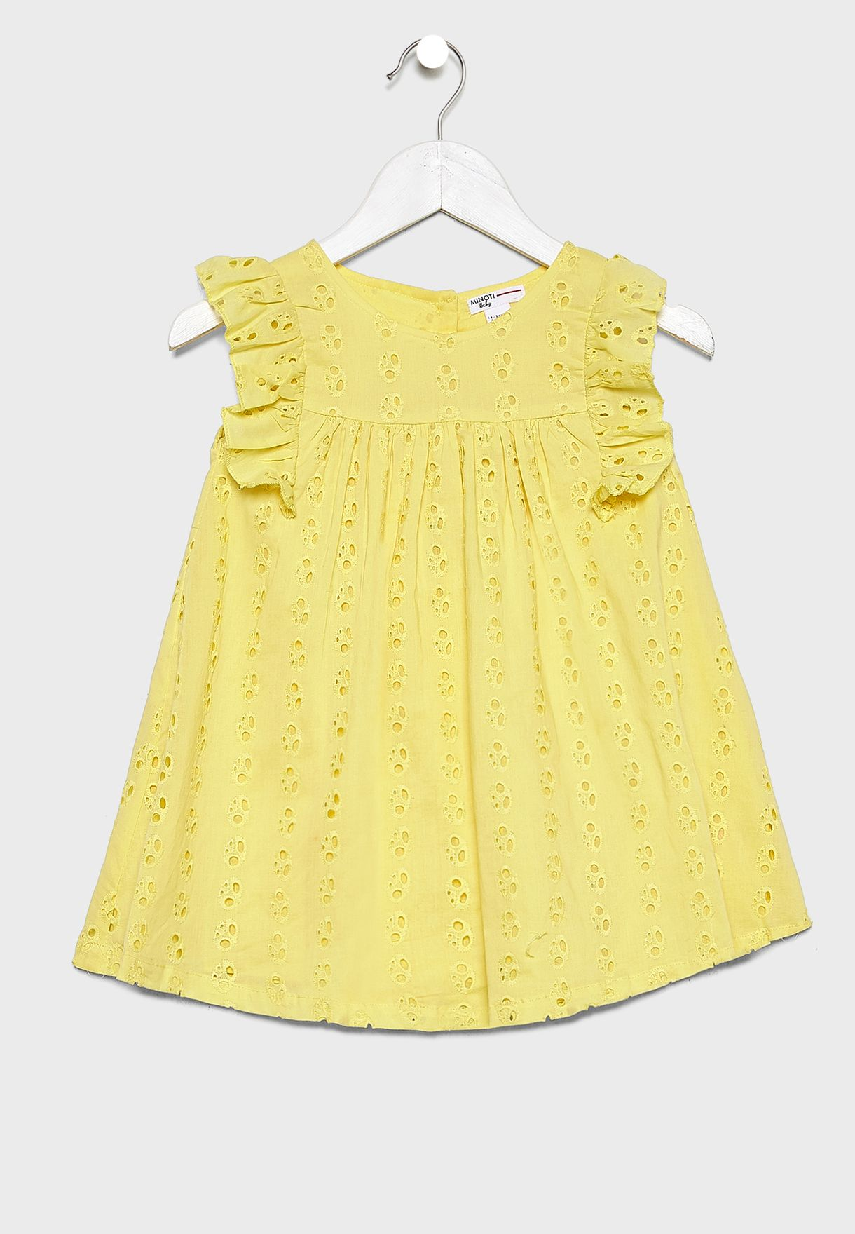 Infant Ruffle Trim Broderie Dress+Knicker Set