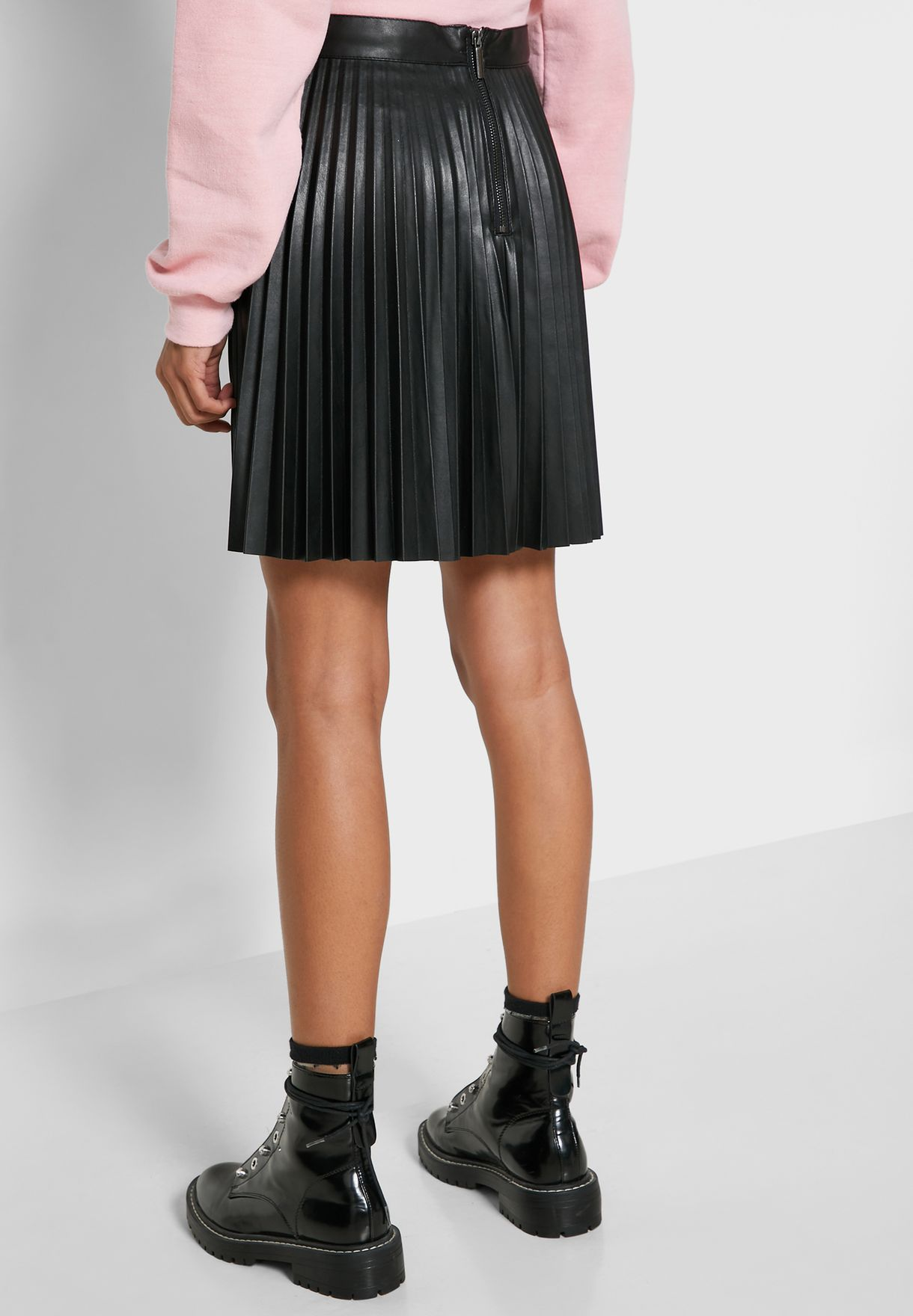 Pleated Pu Mini Skirt