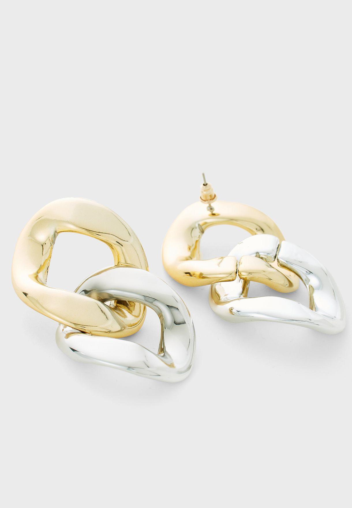 Mixed Oversized Chain Drop Earrings