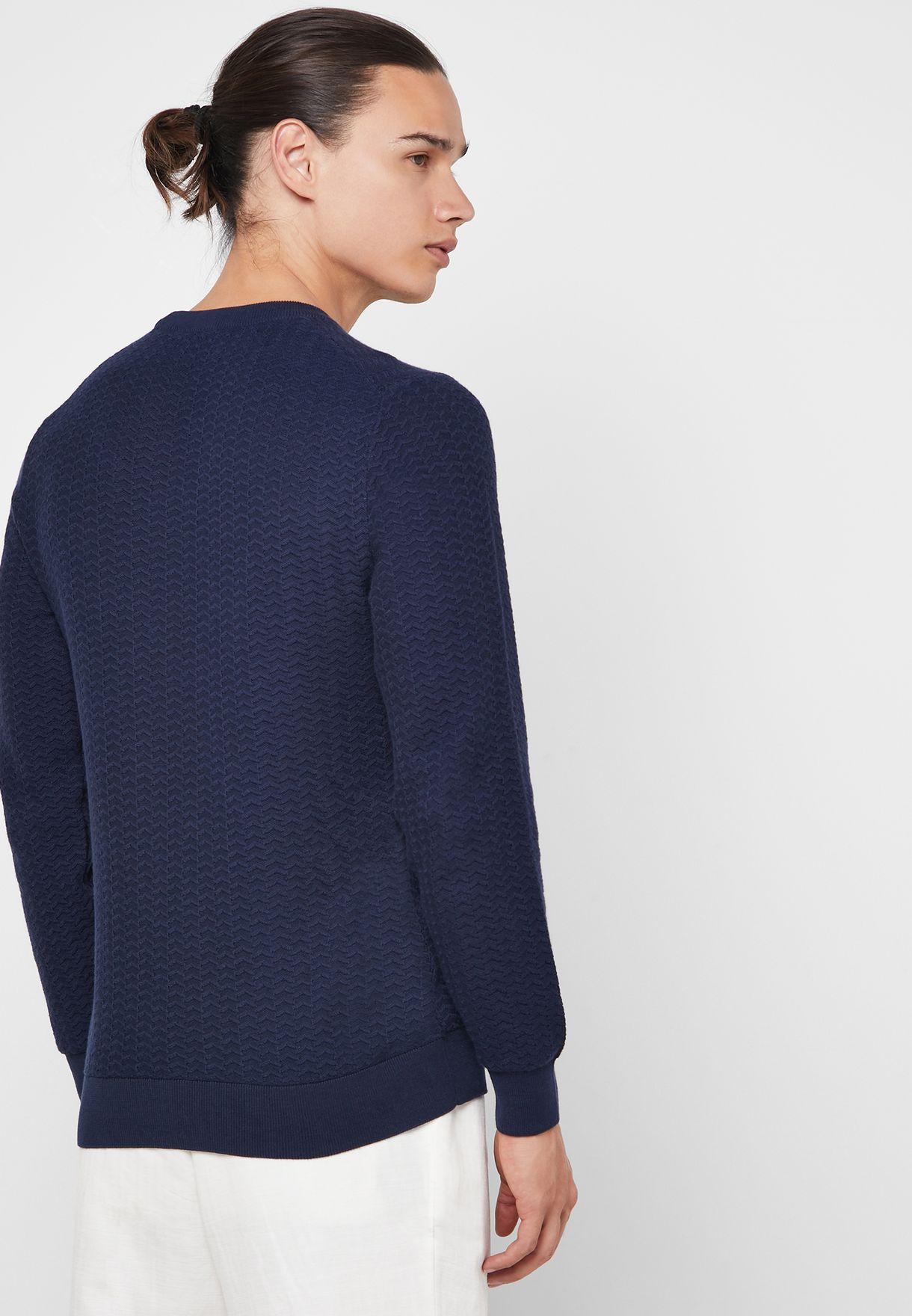 Herringbone Textured Crew Neck Sweater