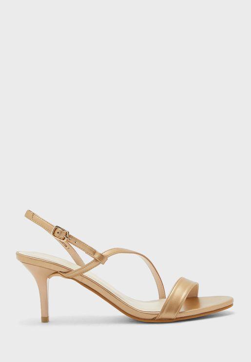 S Strap Mid-Heel Sandal
