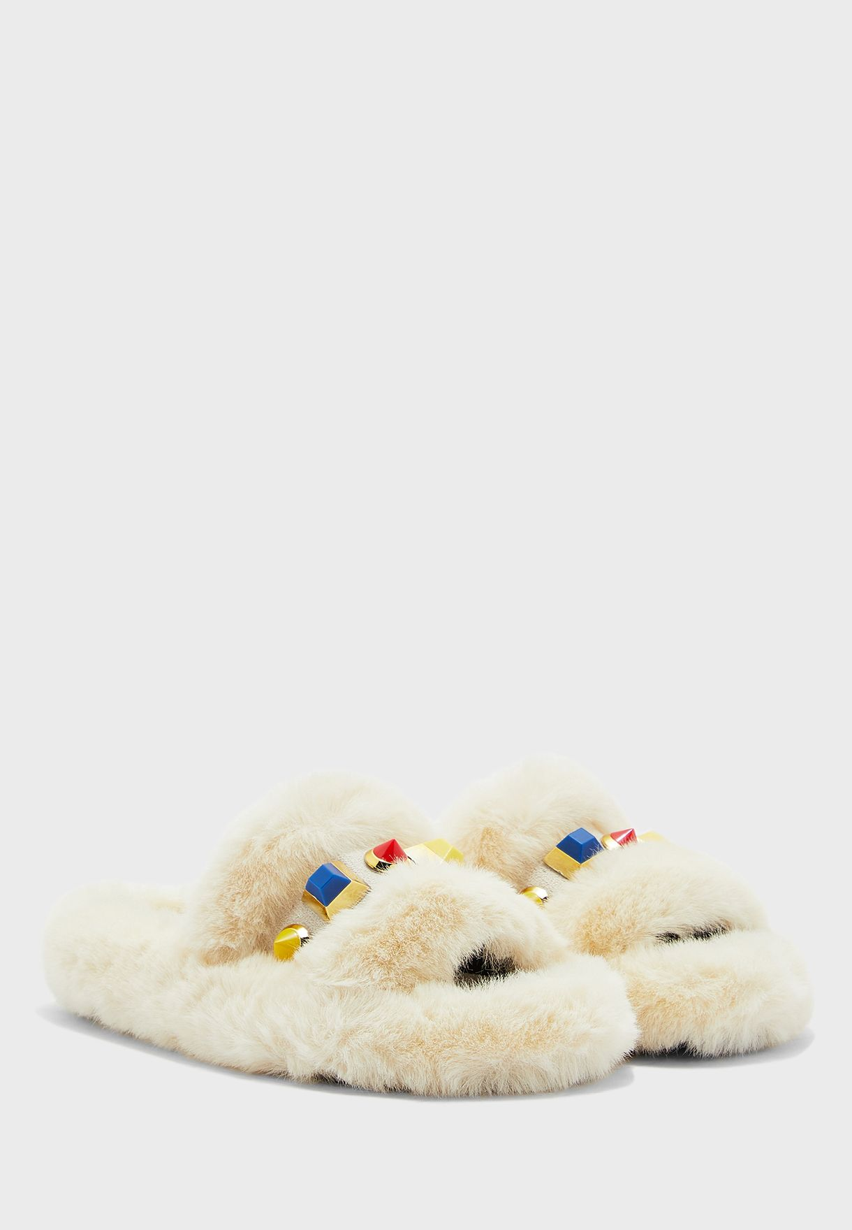 Coloured Stone Furry House Slippers