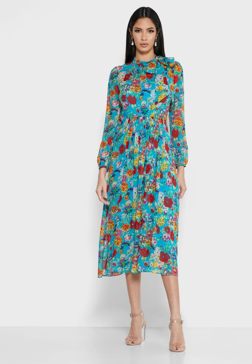 Dr Gish Floral Print Pleated Dress