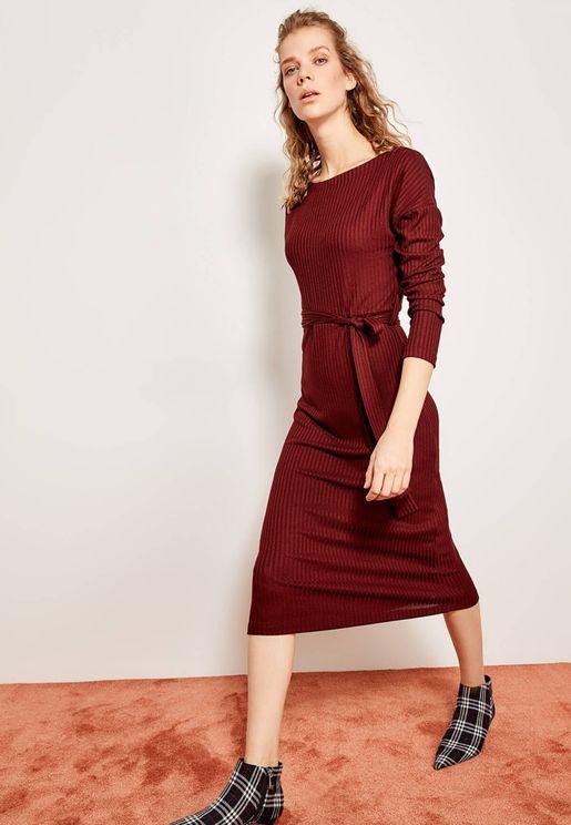 Ribbed Tie Waist Dress