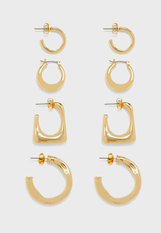 happy hoop Earrings Set