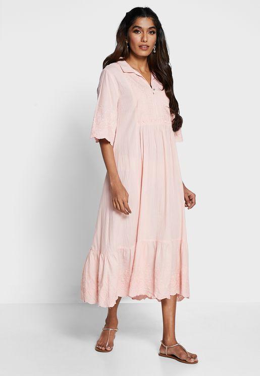 Schiffli Shirred Short Sleeve Midi Dress