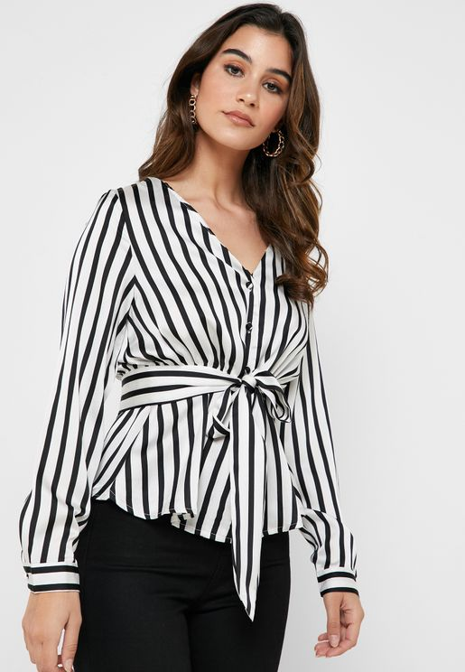 1c677ba95db0a Striped Tie Front Top