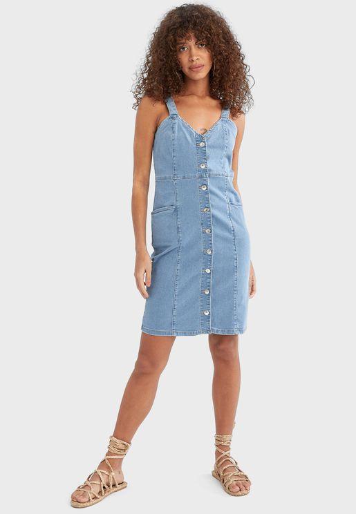 فستان دنيم بأزرار