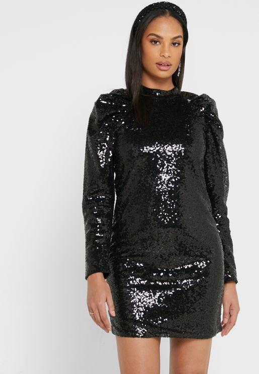 High Neck Shimmer Dress