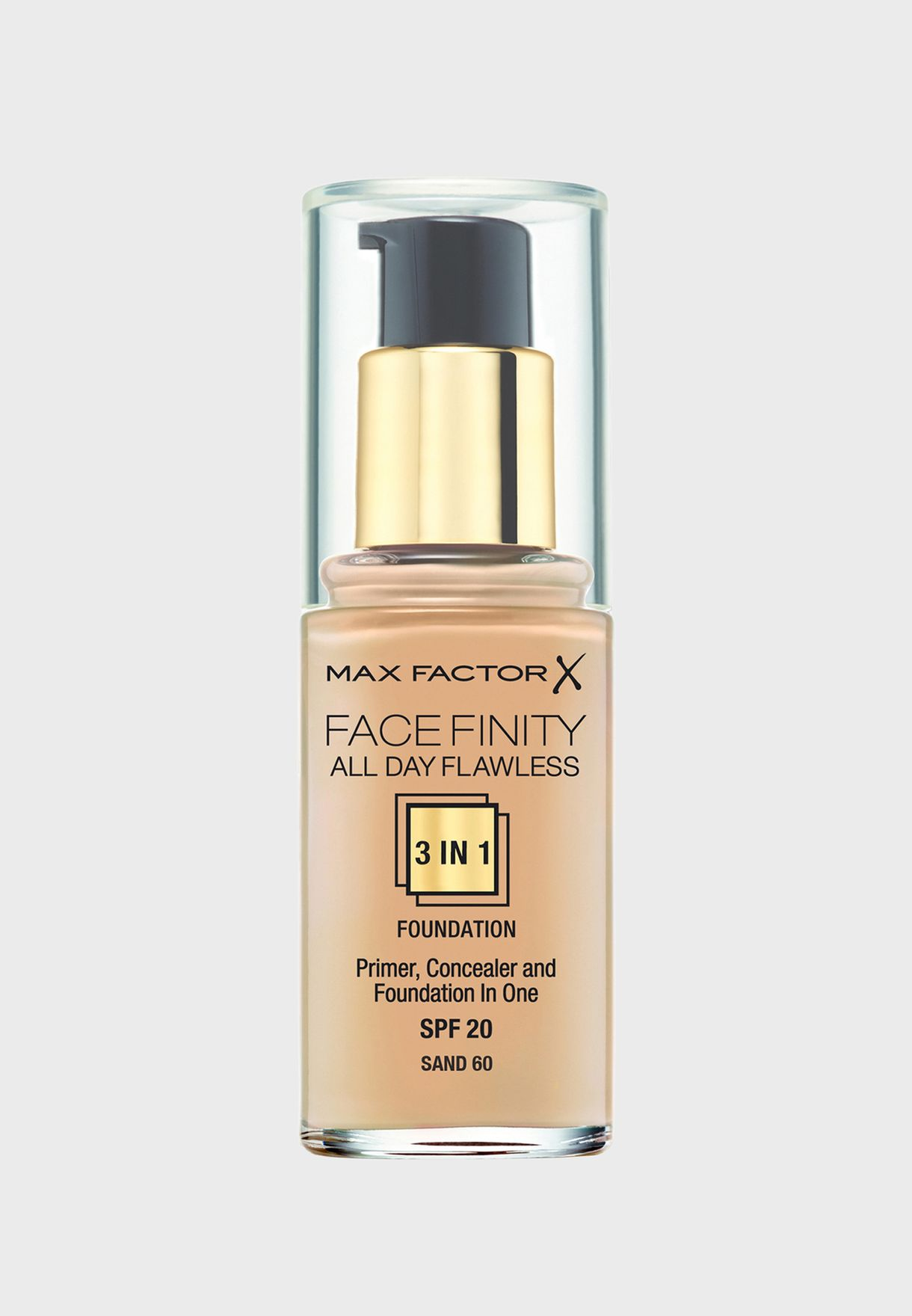 3-in-1 Flawless Liquid Foundation- 60 Sand