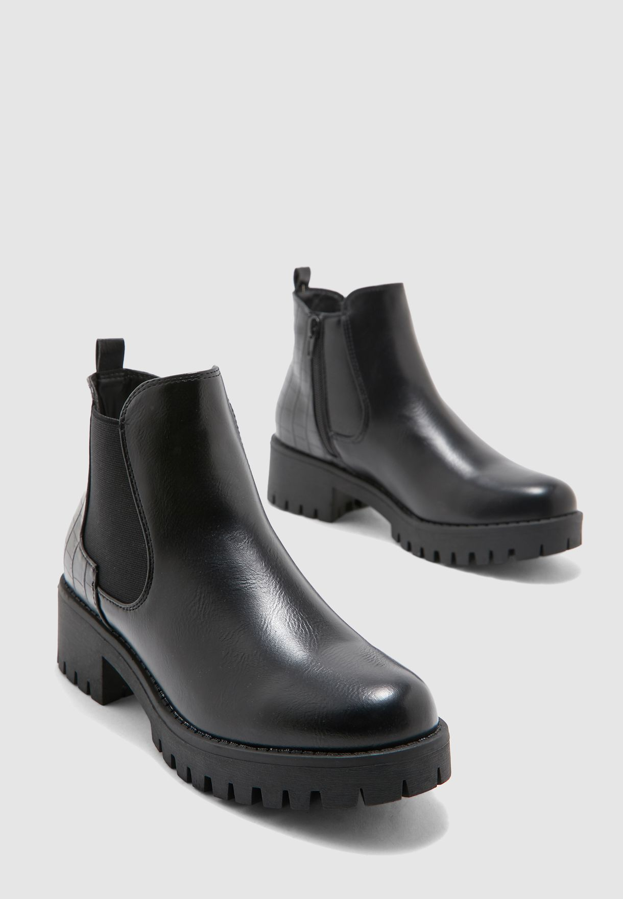 Ankle Boots With Cleated Sole