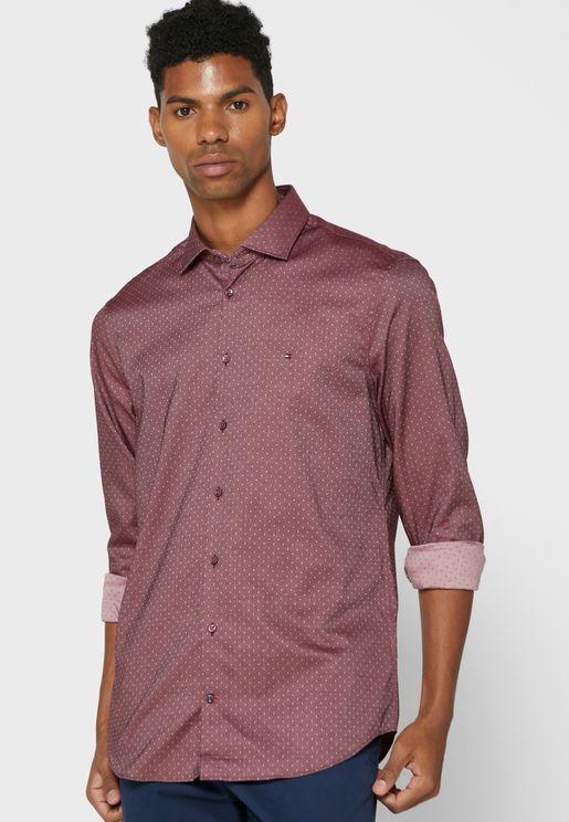 Dot Print Slim Fit Shirt