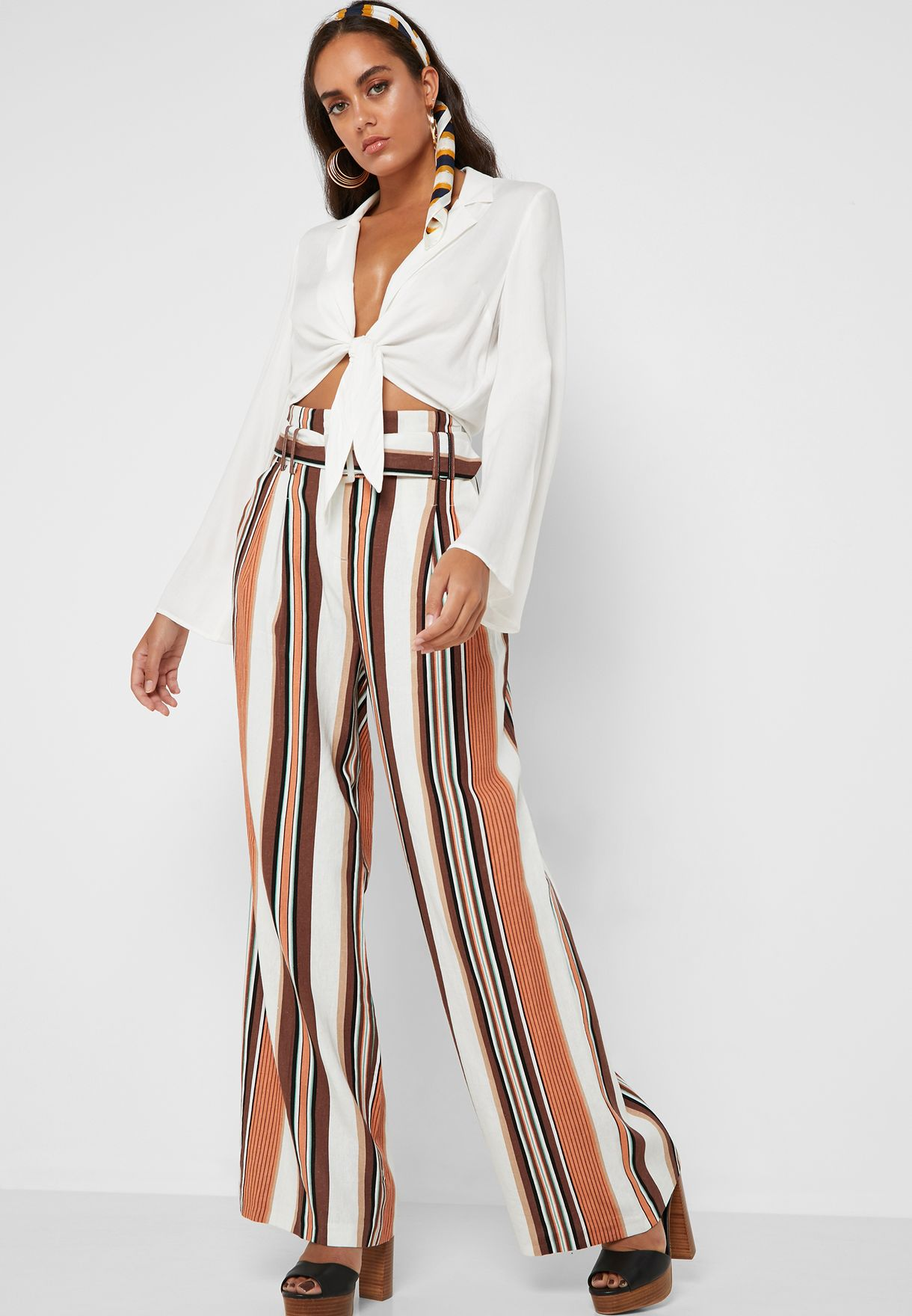 Belted Wide Leg Striped Pants