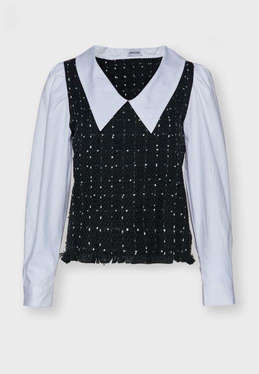بلوزة بنمط قميص 2 في 1