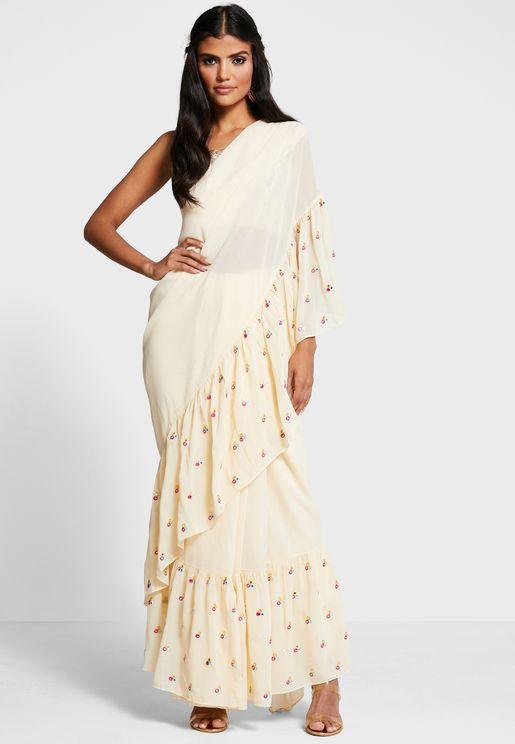تنورة ساري بتطريز من مجموعة انديا × بايال سنغال
