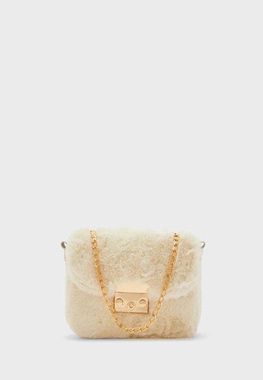 Faux Fur Chain Strap Bag