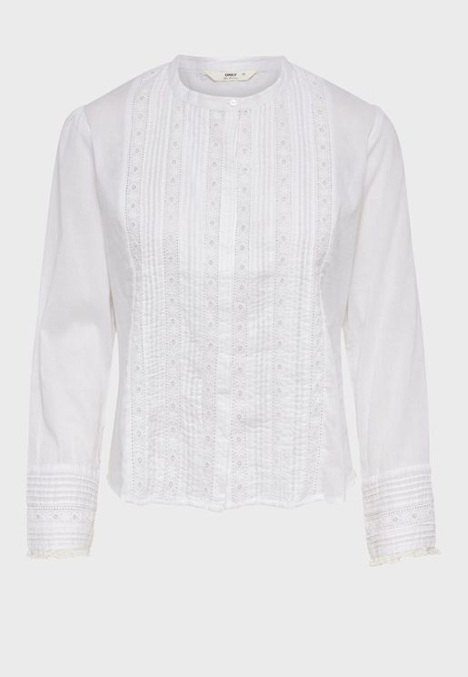 Lace Pleated Shirt