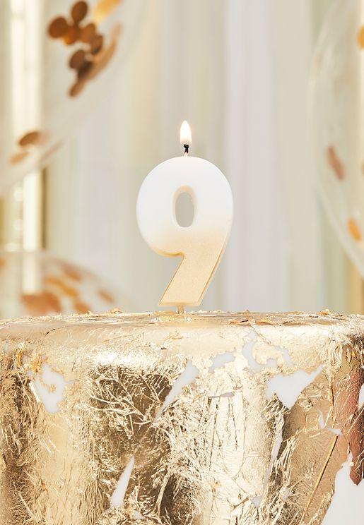شموع ارقام ذهبية - 9