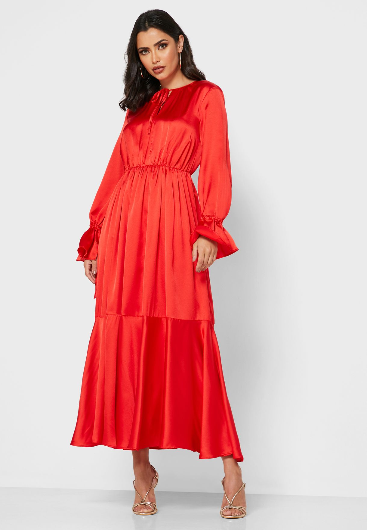 Tie Neck Ruffle Trim Midi Dress