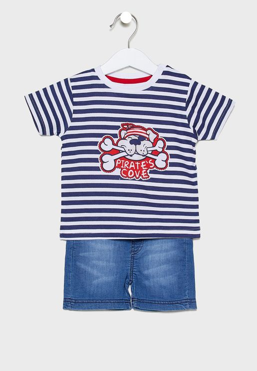 Infant Stripped Graphic T-Shirt + Short Set
