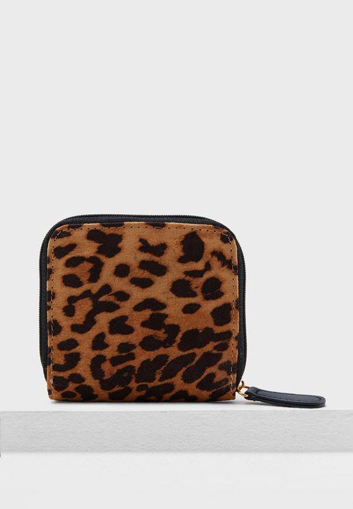 Leopard Print Zip Around Purse