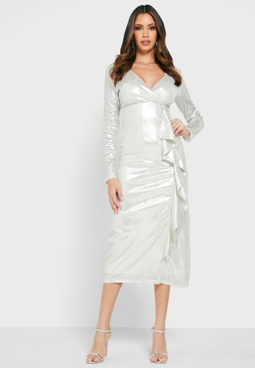 Ruffle Hem Shimmer Dress