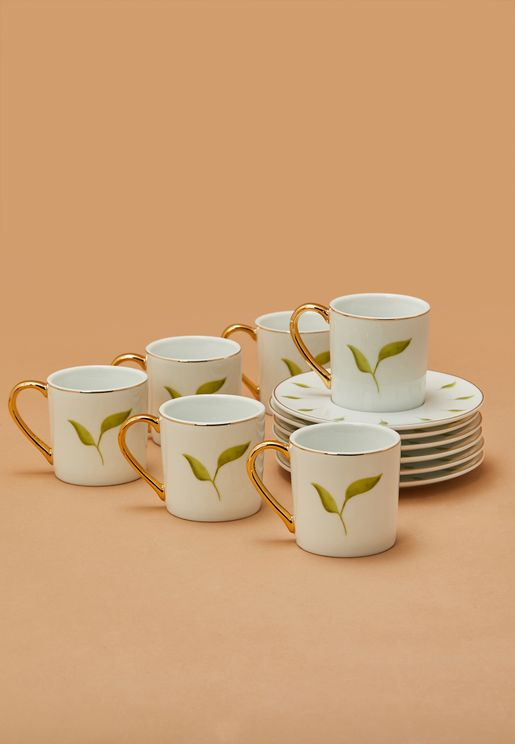 Set of 6 Leaf Espresso Cup With Saucer