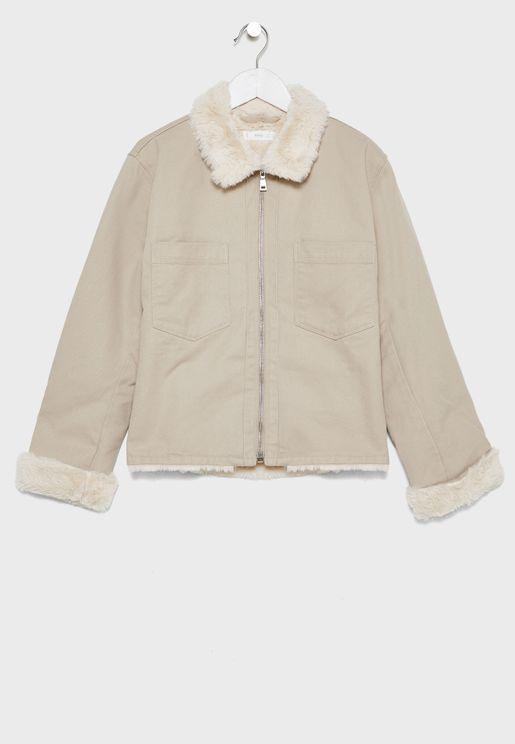 Kids Fur Collar Jacket