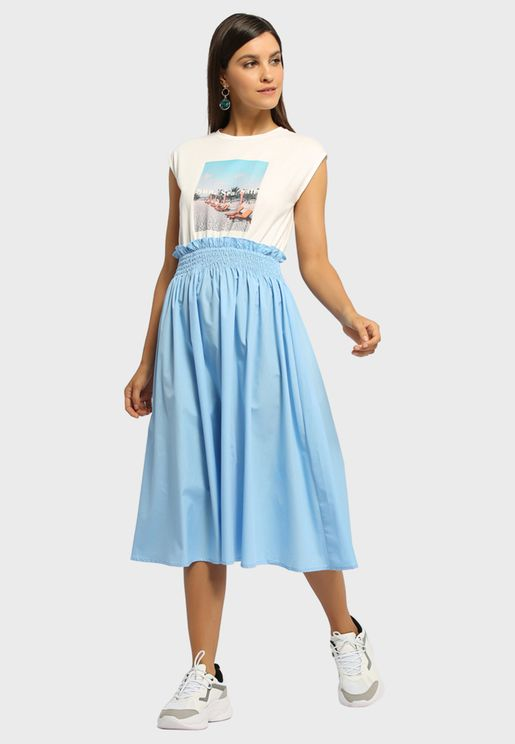 Pleated Graphic Dress