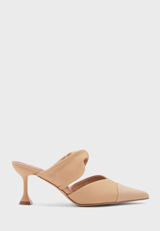 Ruched Strap Toecap Pointed Backless Pump