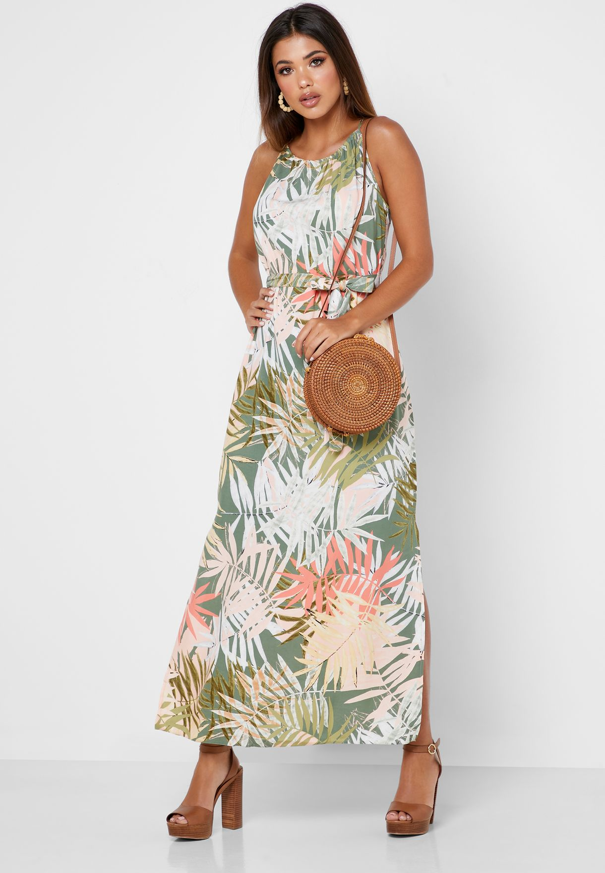 Tie Waist Palm Print Dress