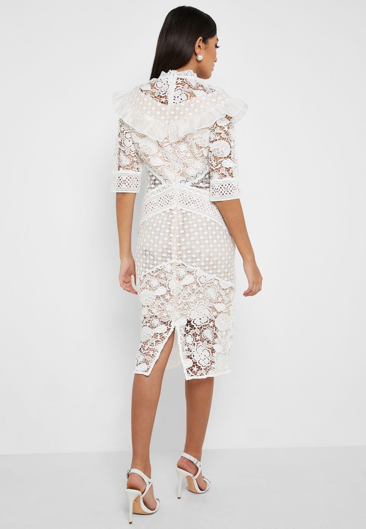 High Neck Lace Mesh Bodycon Dress