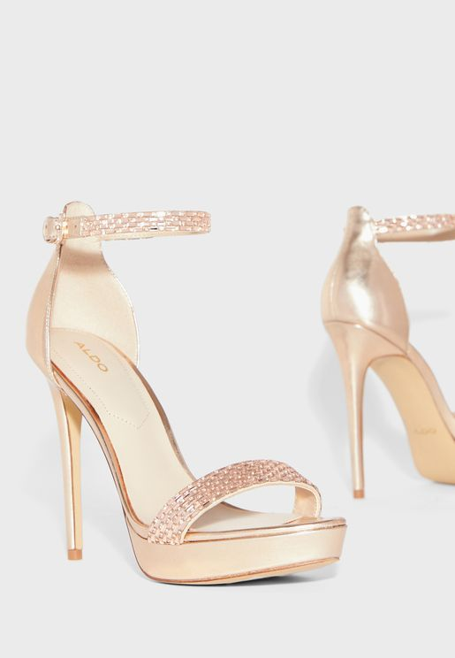 Stunning Ankle Strap Pump - Rose Gold